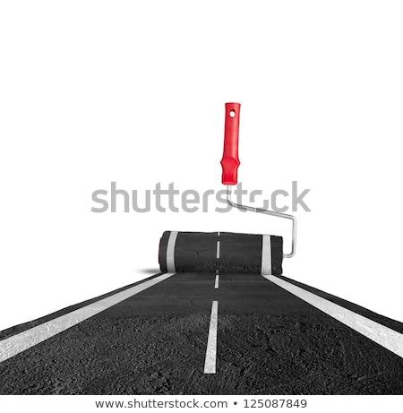 construção · de · estradas · pintura · homem · trabalhando · cidade · rua - foto stock © simazoran