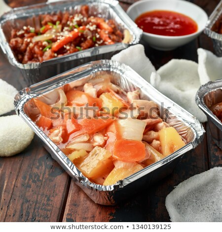 chinese takeout sweet and sour pork Stock photo © zkruger
