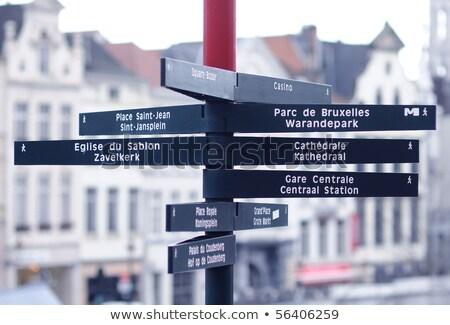 Toeristische wegwijzer centrum Brussel België huis Stockfoto © artjazz