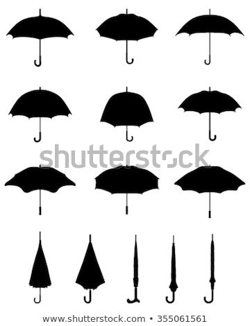 paraguas · siluetas · tormenta · otono · fresco · masculina - foto stock © Slobelix