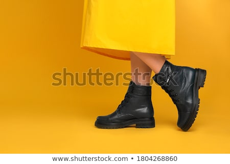 Preto botas couro branco moda de volta Foto stock © simply