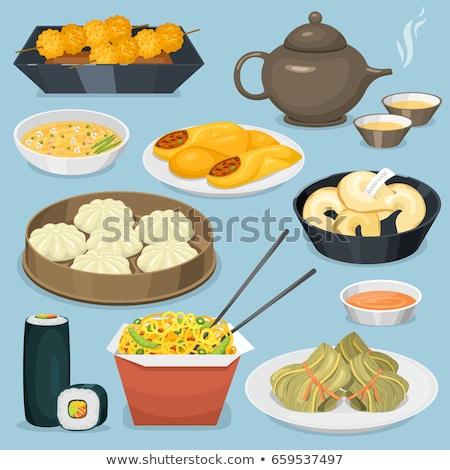 Alimentaires chinois illustration alimentaire pâtes signes cuisson Photo stock © Slobelix