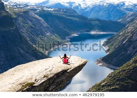gyönyörű · nő · ül · hegy · felső · természet · zöld - stock fotó © amok