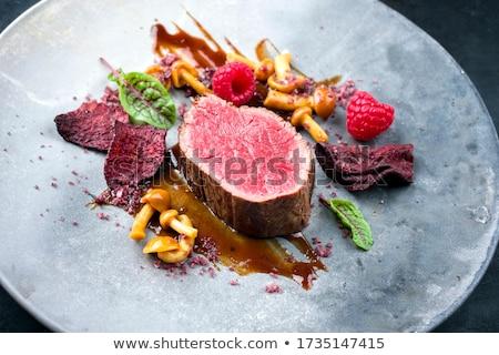 Medaillon Sauce Gemüse Licht Abendessen Stock foto © OleksandrO
