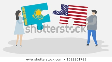 usa and kazakhstan flags in puzzle stock photo © istanbul2009