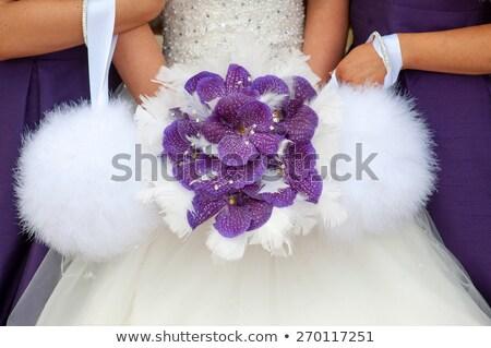 two bridesmaids in purple holding white feather pom poms Stock photo © leeavison