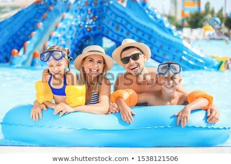 aile · su · parkı · örnek · gülümseme · çocuklar · havuz - stok fotoğraf © adrenalina