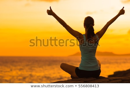 woman silhouette with hand gesture triumph sign Stock photo © Istanbul2009