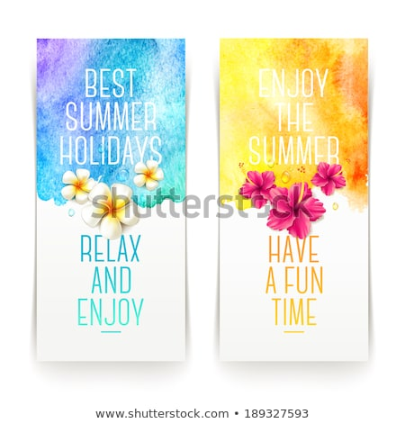 Watercolor painted  vector  hibiscus. Tropical Flower. Vector banner with  flower. Stock photo © mcherevan