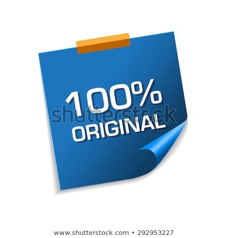 100 pour cent originale bleu sticky notes vecteur Photo stock © rizwanali3d