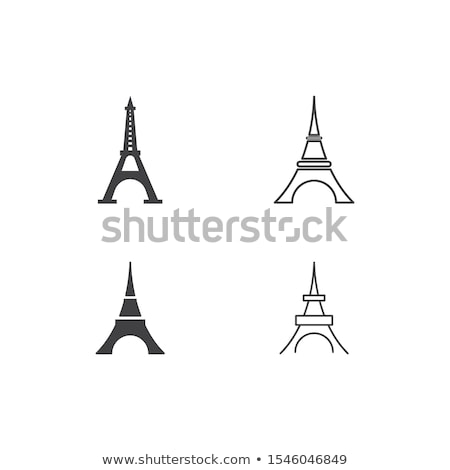 Flat design illustration with Eiffel tower in Paris town Stock photo © Elmiko