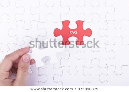 Faq quebra-cabeça lugar desaparecido peças freqüentemente Foto stock © tashatuvango