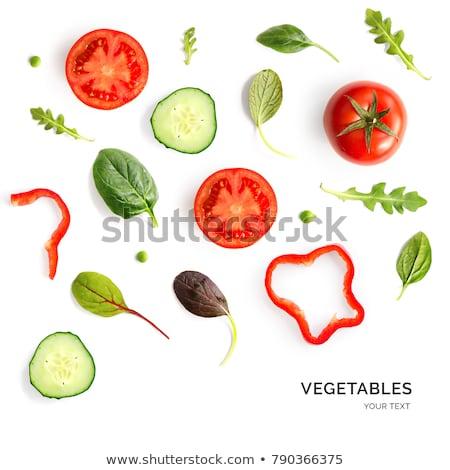 Hozzávalók saláta friss retek uborkák kosár Stock fotó © saharosa