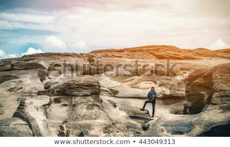 Woman tourist happy gestures on high scenic view Stock photo © Yongkiet