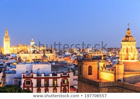 Minaret Espagne carré fleurs architecture tuiles Photo stock © rmbarricarte