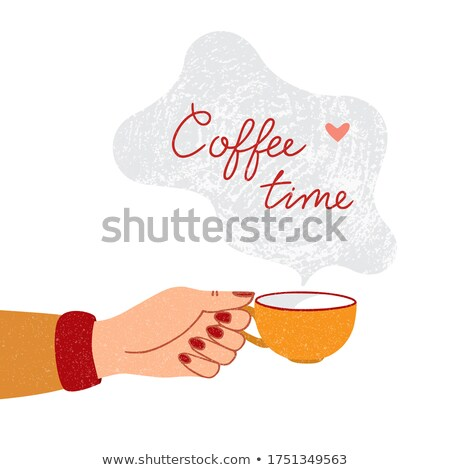 latte coffee with heart symbol and woman hands isolated on white stock photo © tetkoren