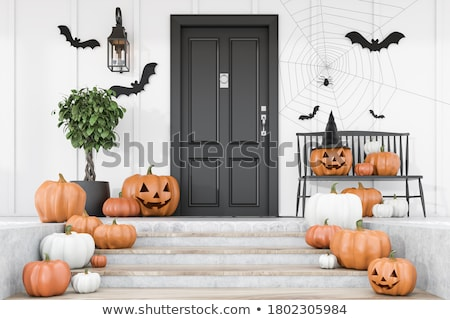 Stok fotoğraf: Halloween · kapı · kedi · arka · plan · web · mavi