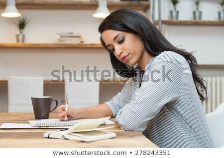 kolej · kütüphane · kadın · öğrenci · genç · siyah · kadın - stok fotoğraf © deandrobot