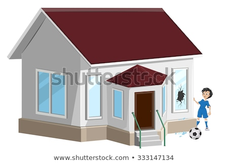 broken window boy soccer player ball broke window property insurance stock photo © orensila