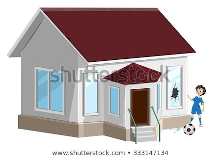 Broken window. Boy soccer player ball broke window. Property insurance Stock photo © orensila