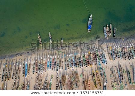 Afrika Senegal kust boten rij hemel Stockfoto © lunamarina