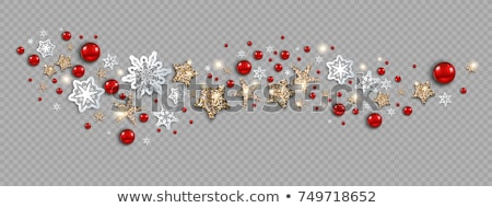 Foto stock: Christmas Decoration With Red Stars And Snowflakes