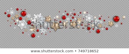 Stok fotoğraf: Noel · dekorasyon · kırmızı · Yıldız · kar · taneleri · beyaz