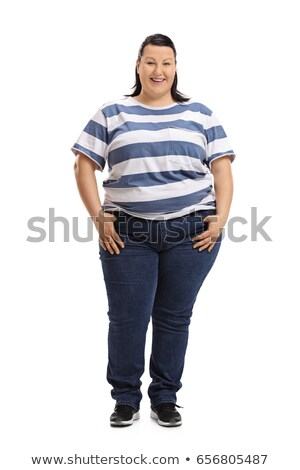 Full length portrait of a casual fat woman Stock photo © deandrobot