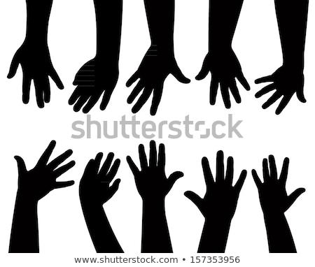 Foto stock: Família · crianças · mãos · silhueta · água · mão