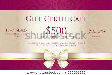 эксклюзивный Подарочный сертификат цветочный шаблон кремом лента Сток-фото © liliwhite