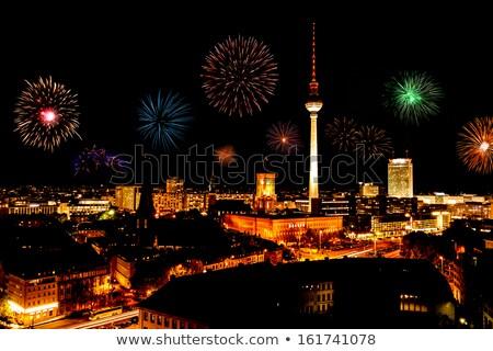 Berlin tv torony tűzijáték légi fénykép Stock fotó © unkreatives