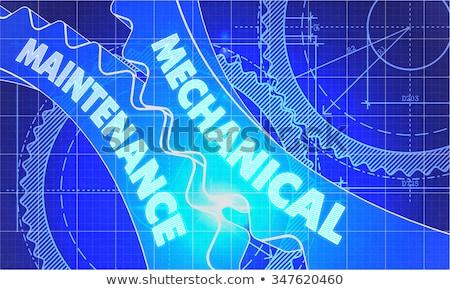 予防の · メンテナンス · 青写真 · 歯車 · 産業 · デザイン - ストックフォト © tashatuvango