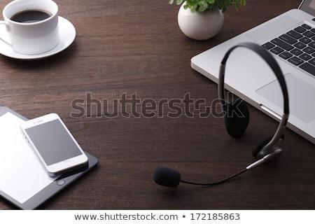 Fejhallgató ügyfélszolgálat szöveg illusztráció telefon háttér Stock fotó © get4net