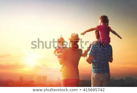 Familia puesta de sol ilustración mujer perro hombre Foto stock © adrenalina