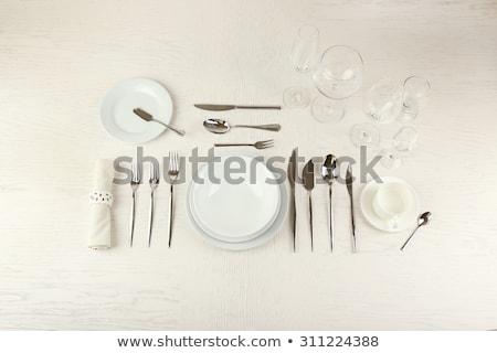 közelkép · kés · villa · fehér · háttér · fém - stock fotó © dolgachov