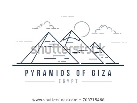 egyptian pyramids line icon stock photo © rastudio