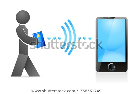 online banking - man with credit card sent money over mobile phone Stock photo © djdarkflower
