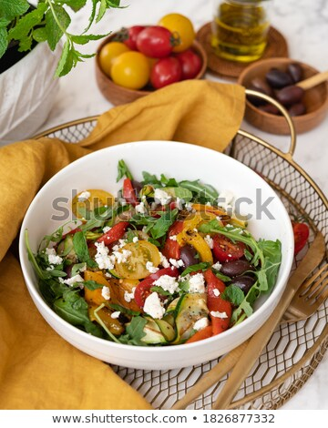 Roasted vegetables in a metal serving bowl Stock photo © phila54