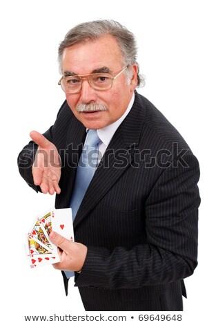Stockfoto: Senior Man Showing Royal Flush