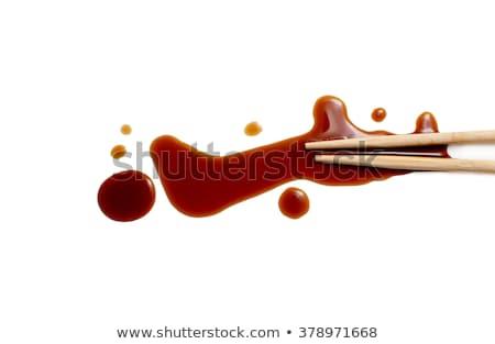 Szusi evőpálcikák szójaszósz kő asztal felső Stock fotó © karandaev