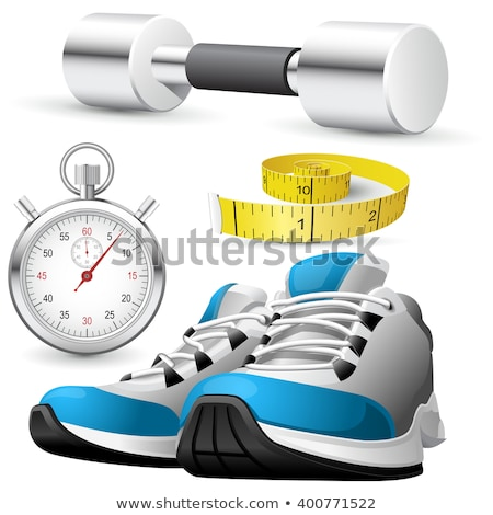 Pair of running shoes, stopwatch and measuring tape Stock photo © Winner