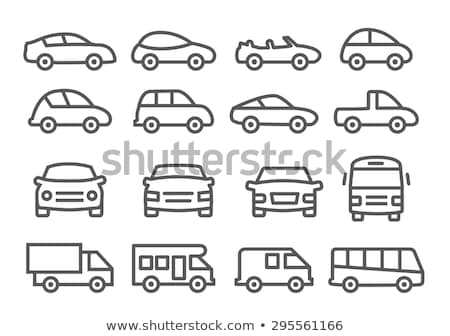 Minibus lijn icon hoeken web mobiele Stockfoto © RAStudio
