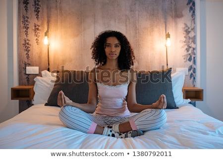 Lányok meditáció lótusz póz derűs lány Stock fotó © bezikus