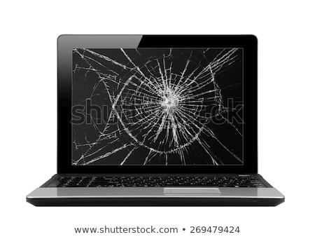 Kırık bilgisayar monitörü modern mavi ekran bilgisayar Stok fotoğraf © timurock