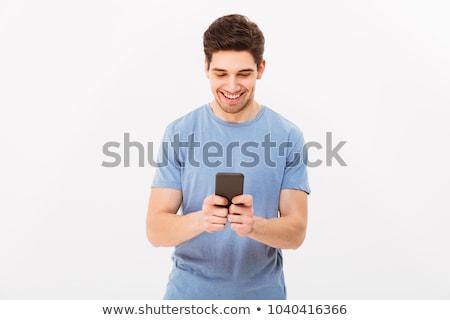 Człowiek ilustracja biały komputera laptop Zdjęcia stock © bluering
