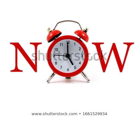 часы слово сейчас деревянный стол служба бумаги Сток-фото © fuzzbones0