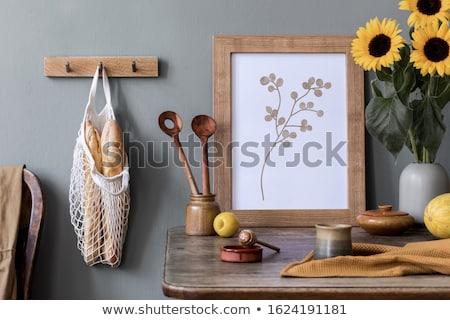 Drewniany stół słowo biuro dziecko ramki Zdjęcia stock © fuzzbones0
