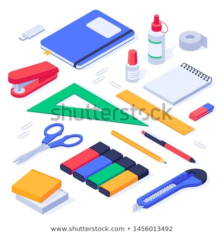 Crayons gomme souverain blanche peinture Photo stock © OleksandrO