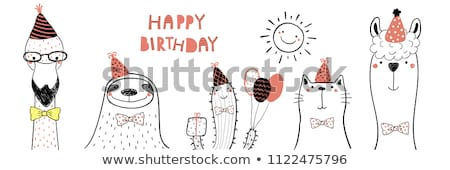 childish birthday card with funny little cat Stock photo © balasoiu