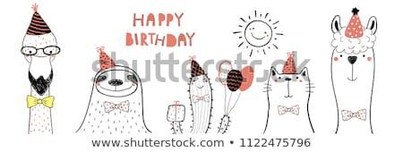 childish birthday card with funny little cat stock photo © balasoiu